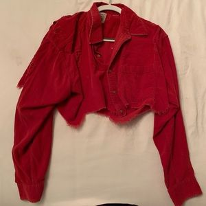 Red long sleeve distressed crop top. NWOT